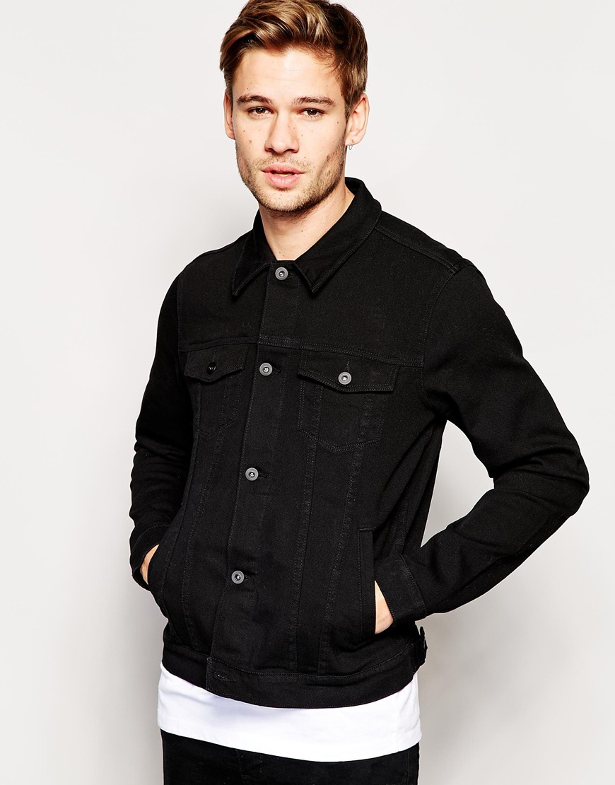 Slim Fit Black Denim Jacket