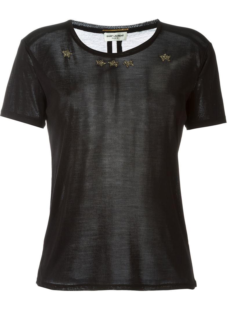 Saint laurent beaded star t shirt in black lyst for Saint laurent t shirt