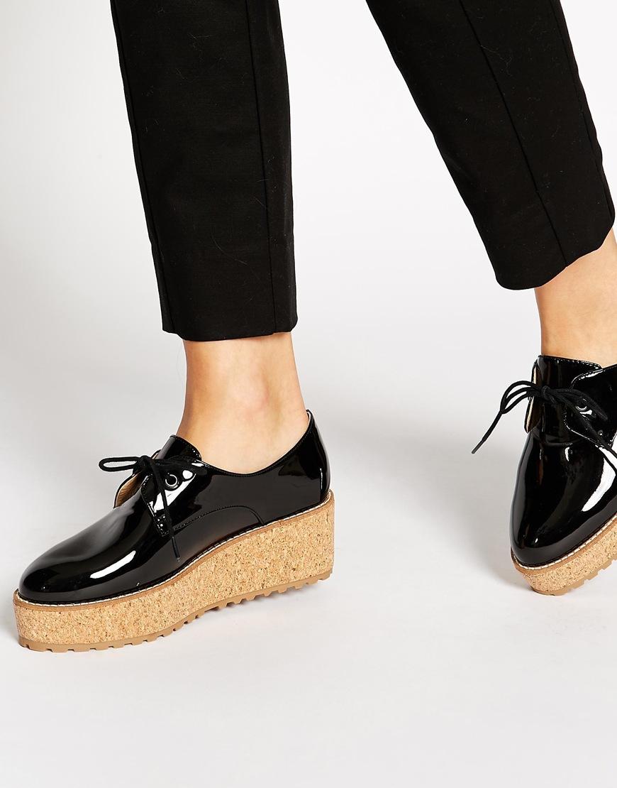 cc384619e53 Lyst - Shellys London Shellys Black Patent Cork Platform Shoes in Black