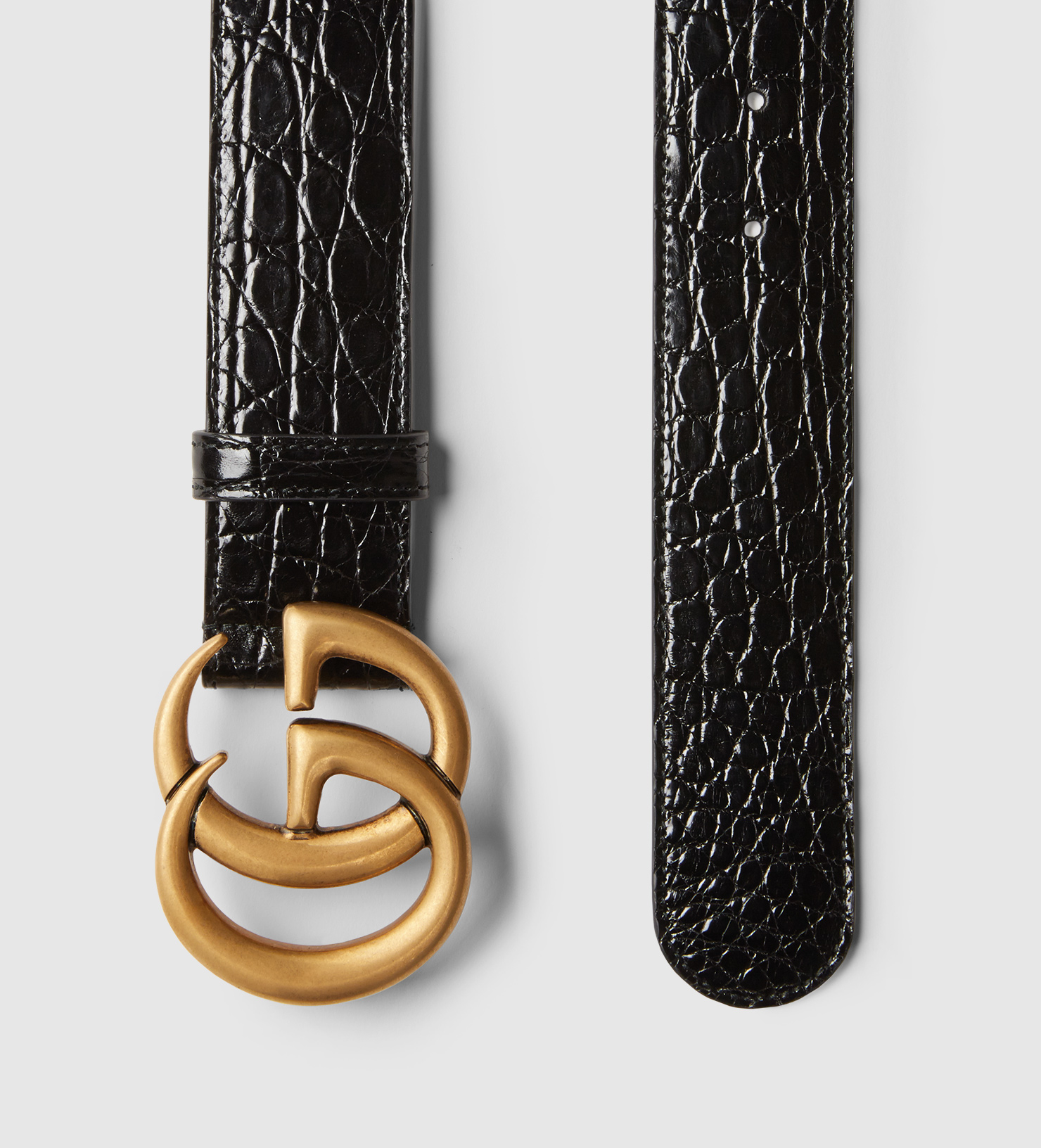 c6f25cf5e Gucci Crocodile Belt With Double G Buckle in Black for Men - Lyst