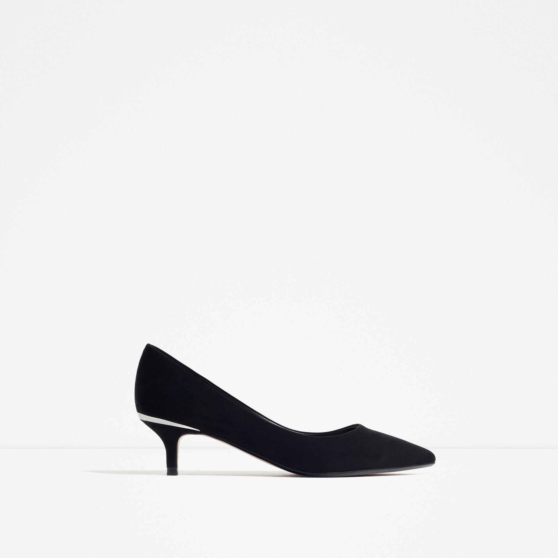 Zara Mid-heel Shoes With Metallic Detail in Black | Lyst