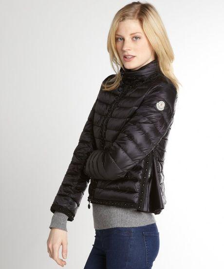 Moncler Black Quilted Fluette Down Filled Jacket in Black ...