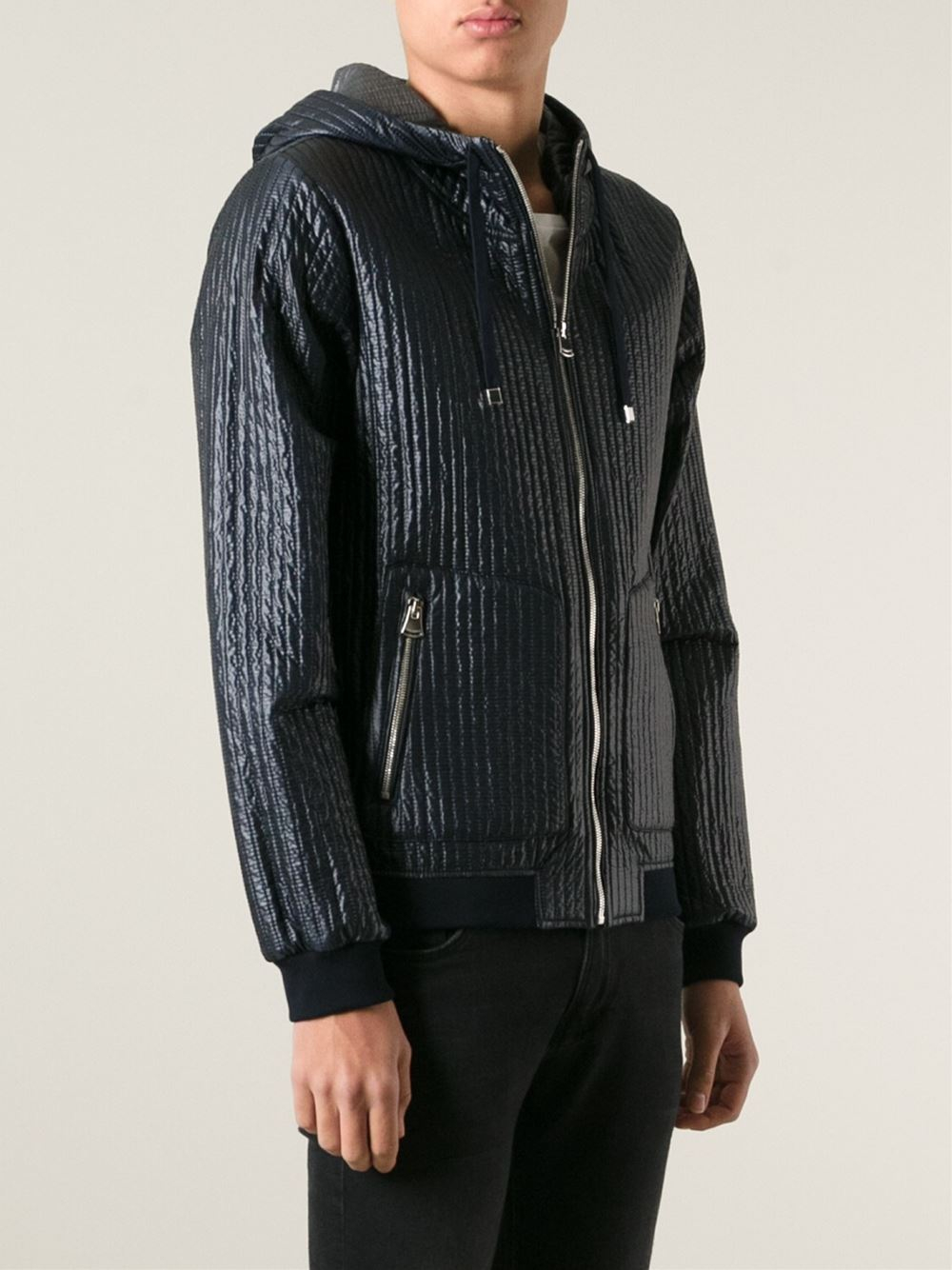 Dolce Amp Gabbana Metallic Quilted Hooded Jacket In Blue For