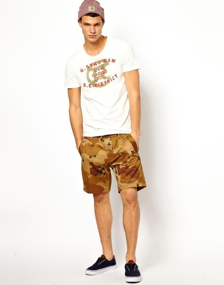 star raw g star chino shorts bronson camo print in brown for men. Black Bedroom Furniture Sets. Home Design Ideas