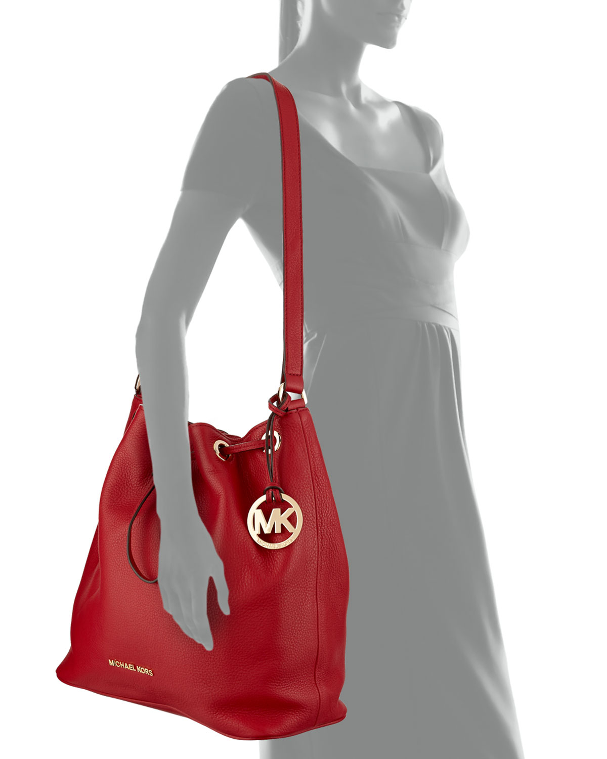 176683a46549 ... best lyst michael michael kors large jules drawstring shoulder bag in  red 9cb61 60f26