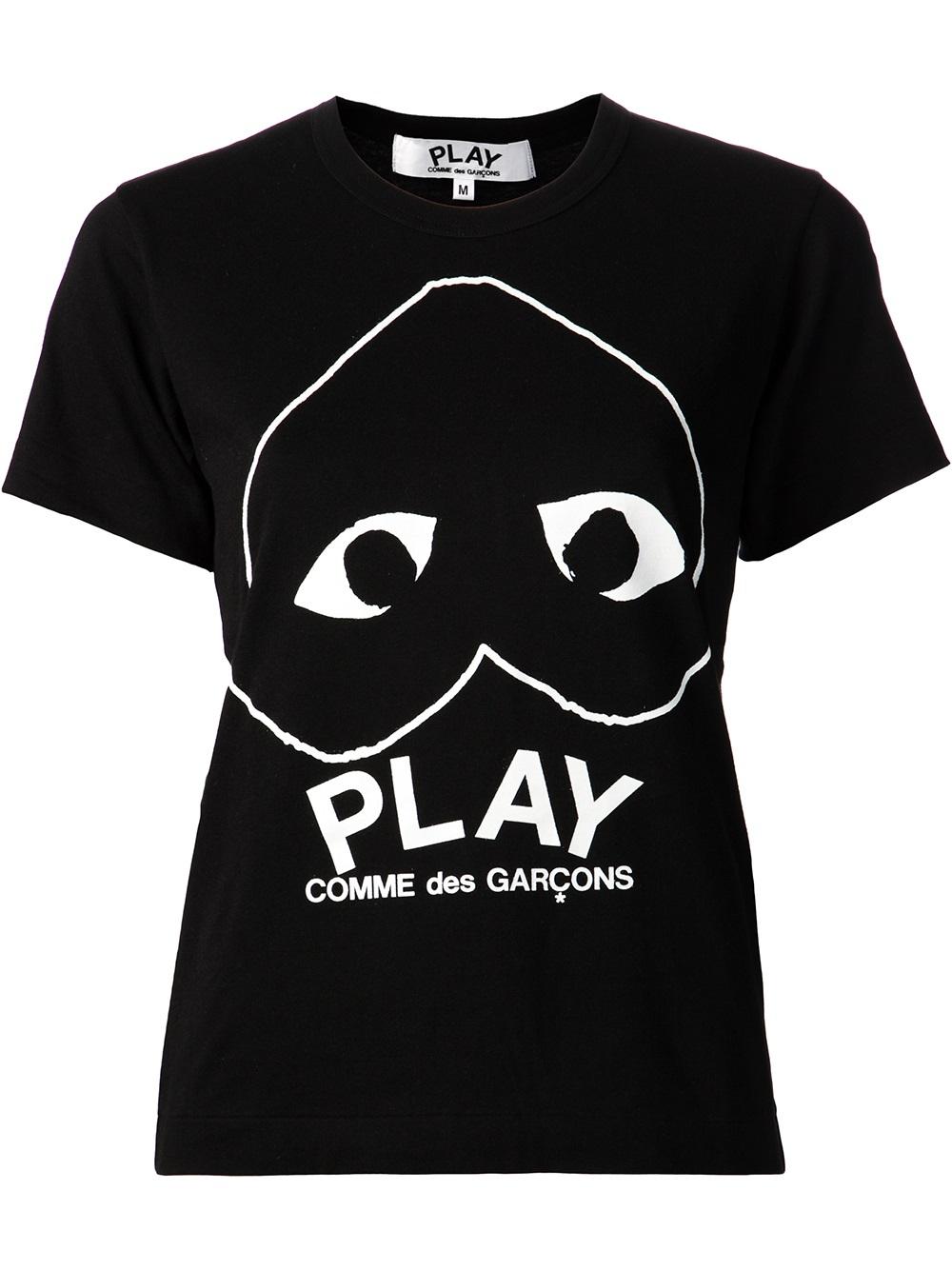 play comme des gar ons logo print t shirt in black lyst. Black Bedroom Furniture Sets. Home Design Ideas