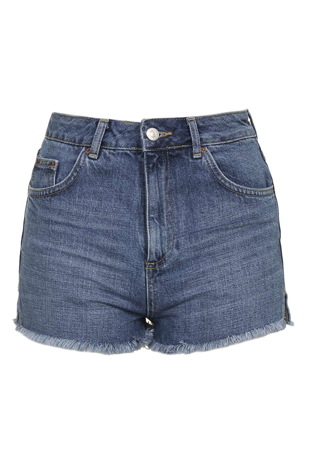 Topshop petite moto mom short in blue lyst for Womens denim shirts topshop