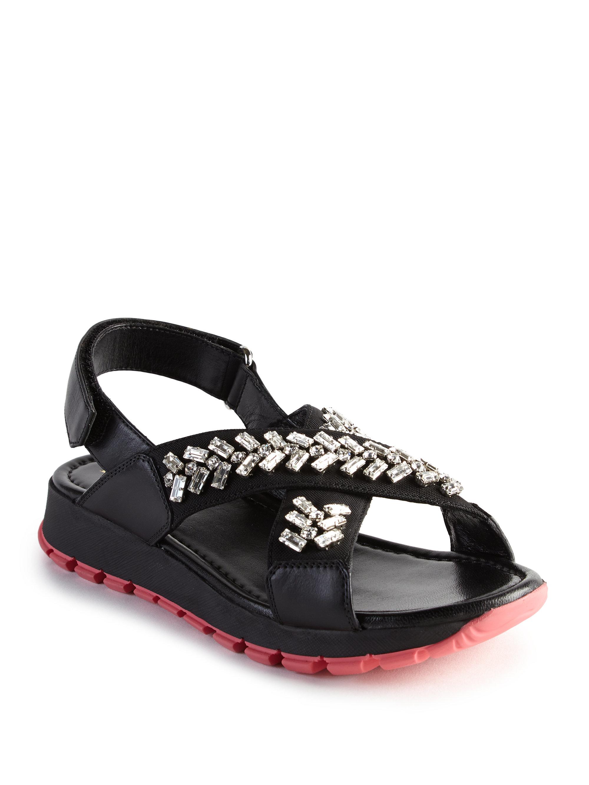 Embellished leather sandals Prada npsFLKc