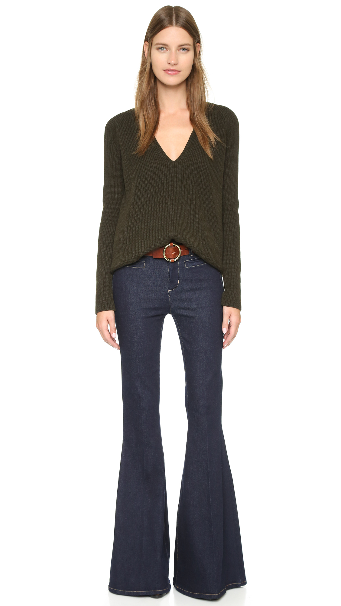 Lyst M I H Jeans The Principle Super Flare Jeans In Blue
