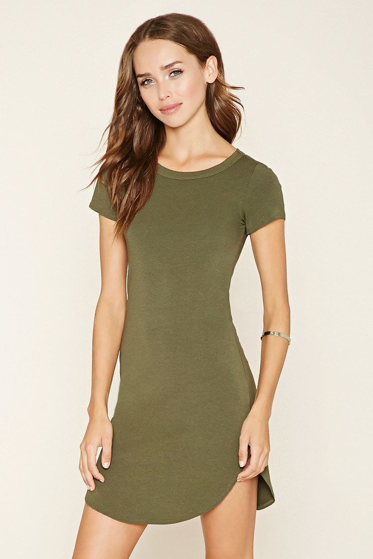 Lyst Forever 21 Curved Hem T Shirt Dress In Green