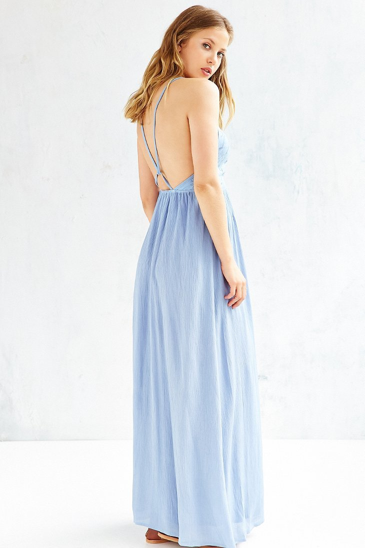 Lyst kimchi blue embroidered bodice halter maxi dress in