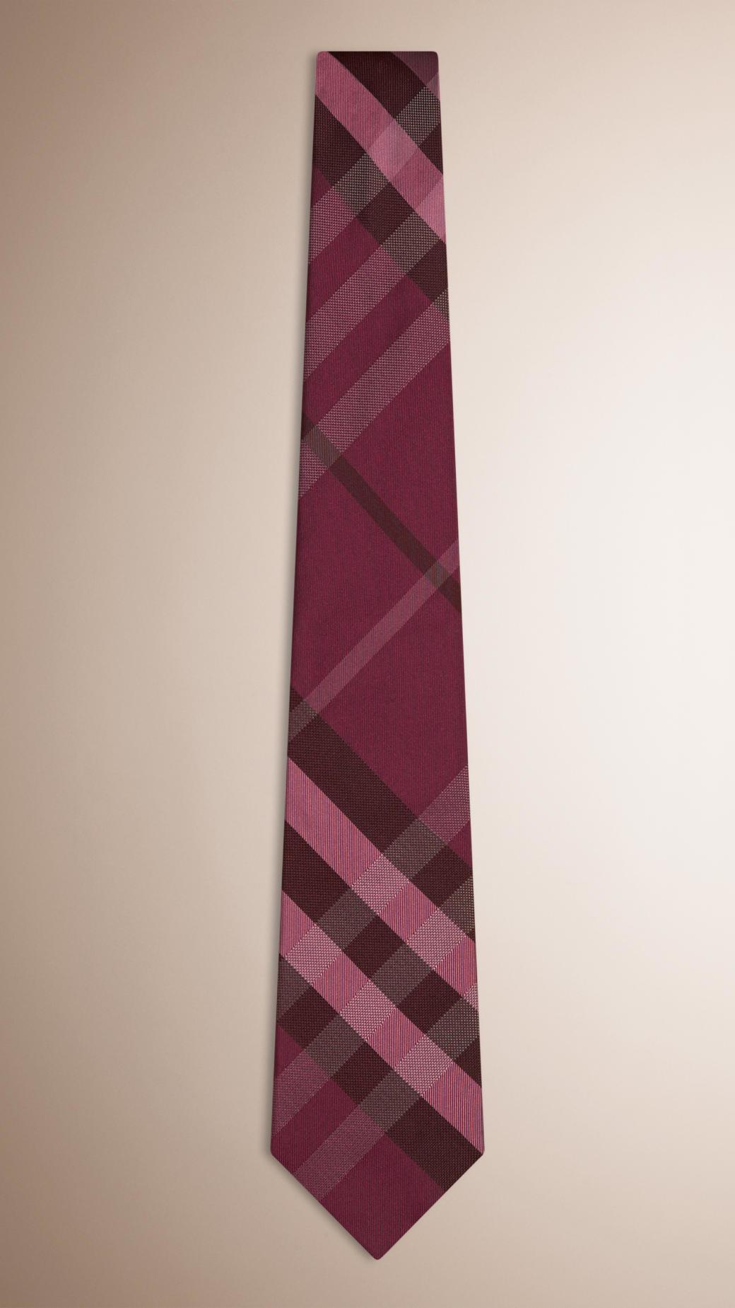 Slim Cut Daisy Silk Jacquard Tie - Pink & Purple Burberry Cheap Manchester t9LODT