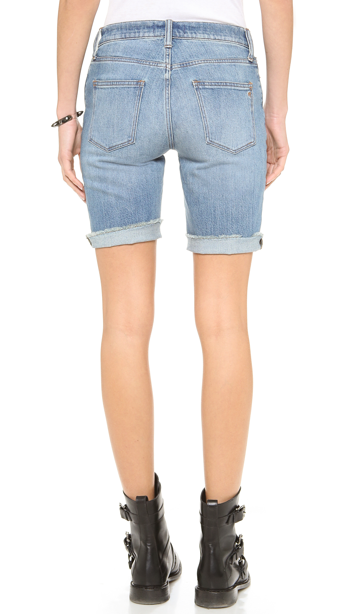 Madewell High Waisted Bermuda Shorts in Blue | Lyst