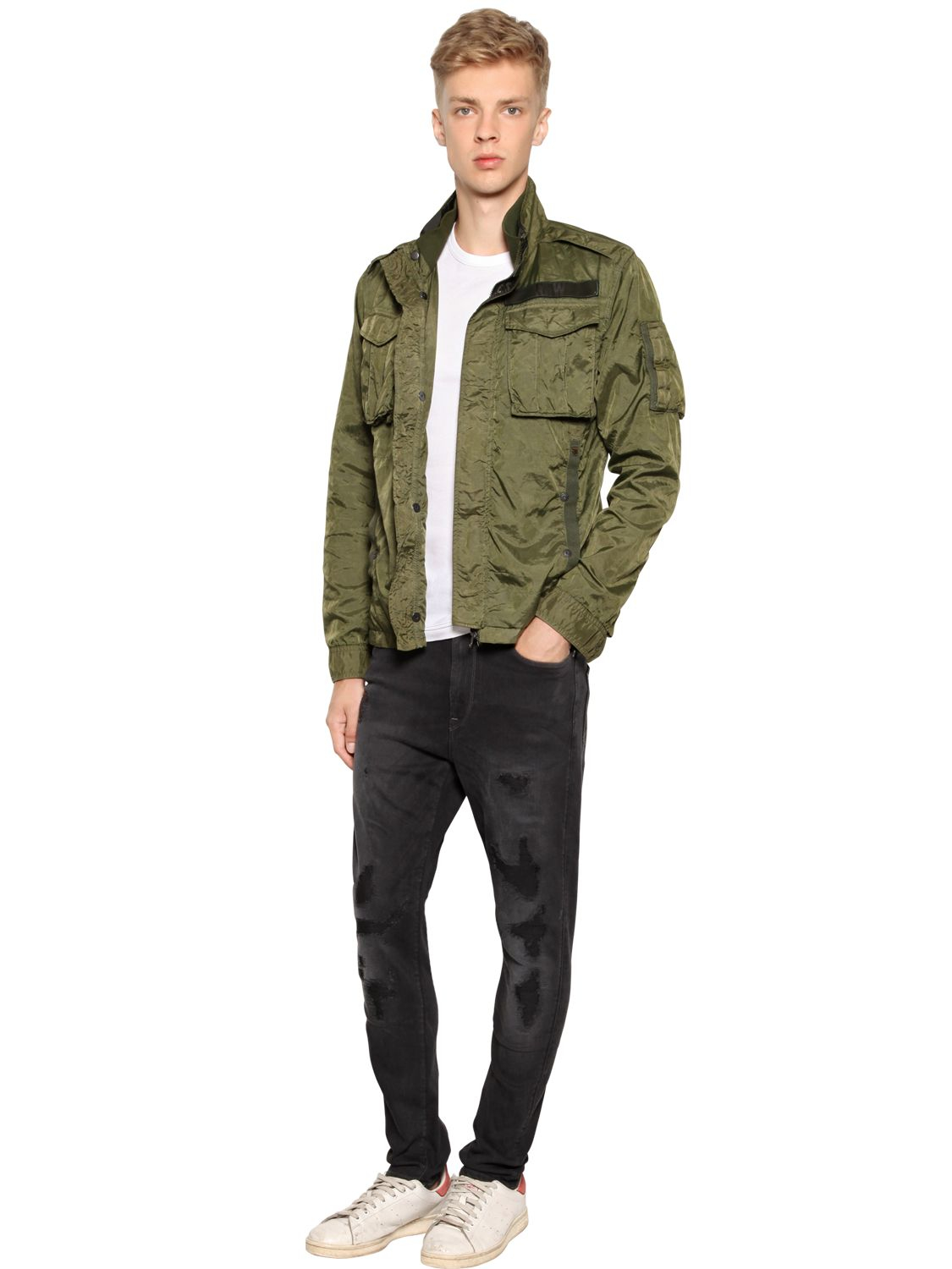 g star raw rovic light nylon field jacket in green for men. Black Bedroom Furniture Sets. Home Design Ideas