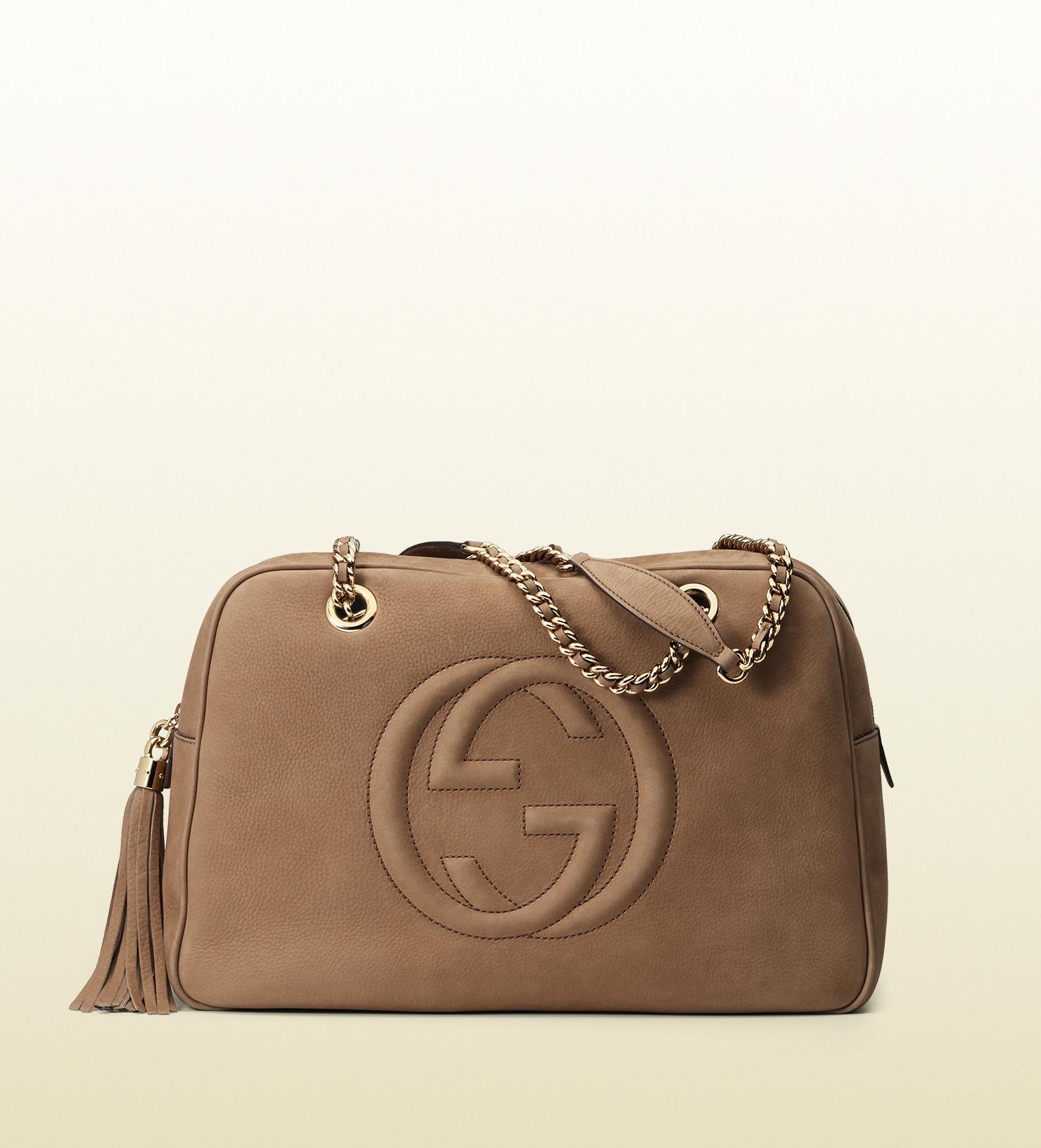 ea6fad0c57e Gucci Soho Nubuck Leather Chain Shoulder Bag in Brown - Lyst