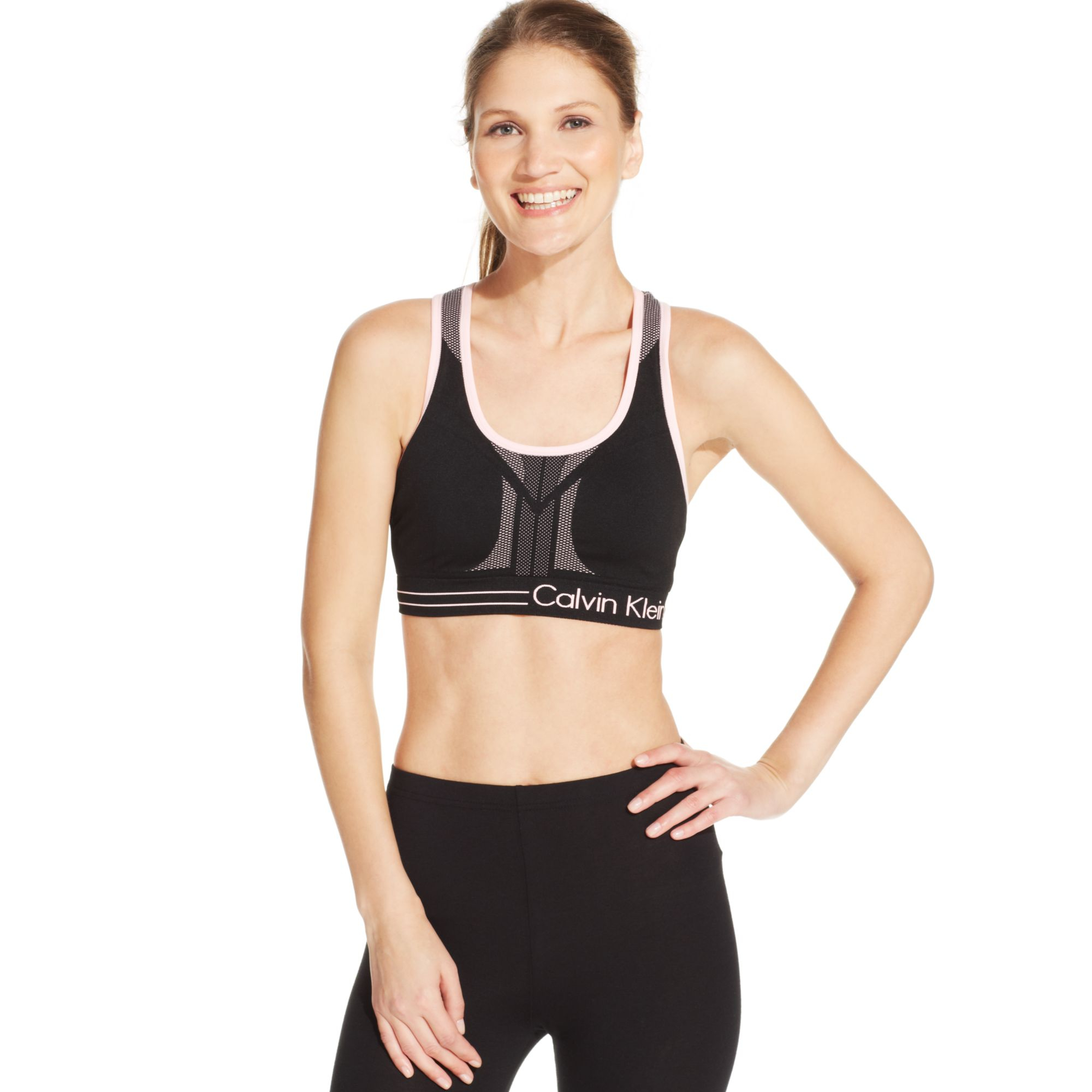 b33e9ae7ef2 Lyst - Calvin Klein Performance Reversible Racerback Sports Bra in Black