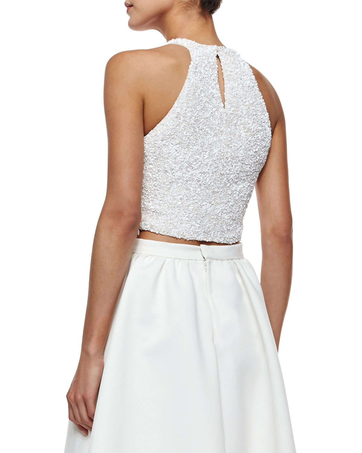 6a15e90876cc0 Lyst - Parker Black Grenada Sleeveless Beaded Crop Top in White