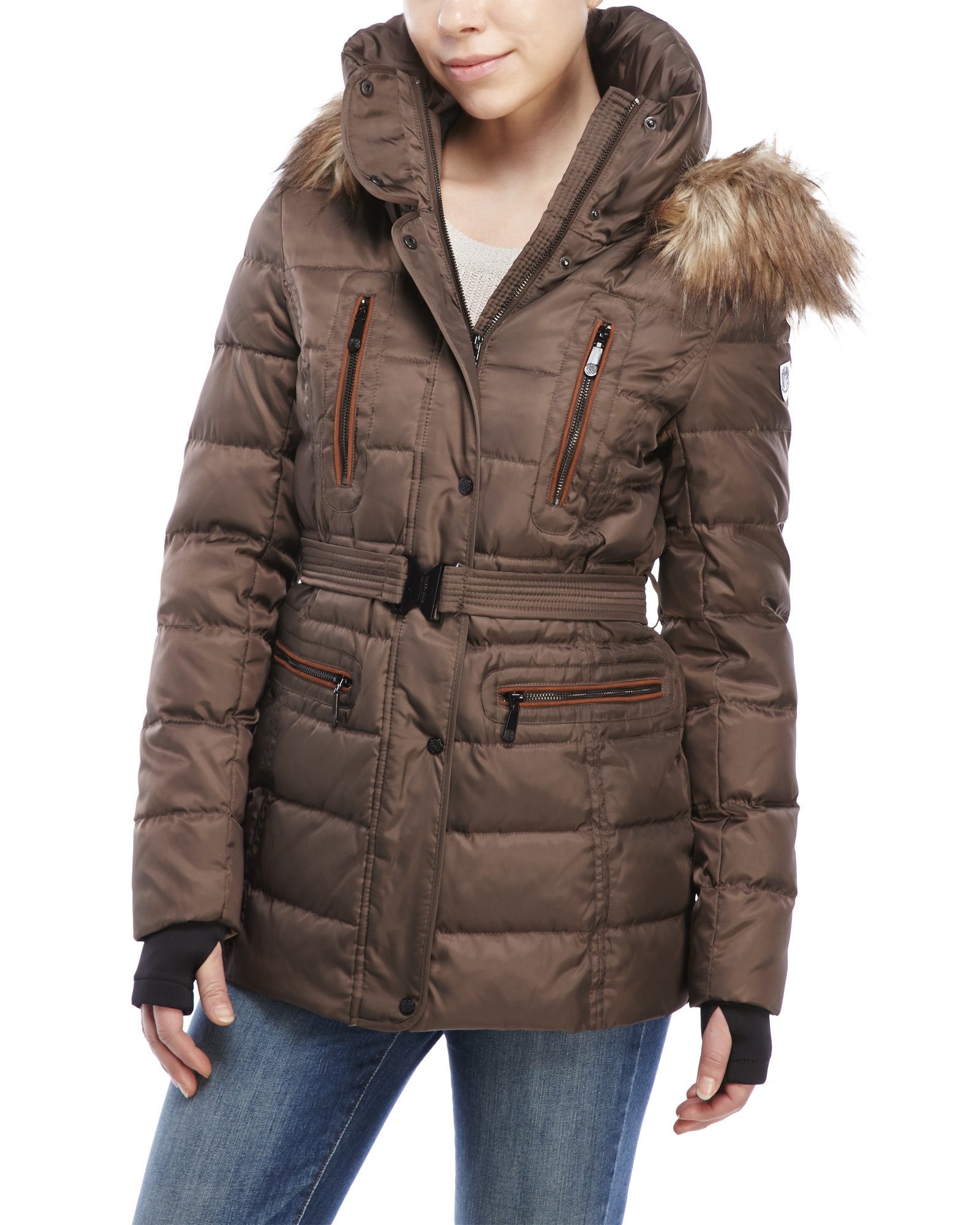 Vince camuto Belted Down Jacket With Faux Fur Trim in Brown   Lyst