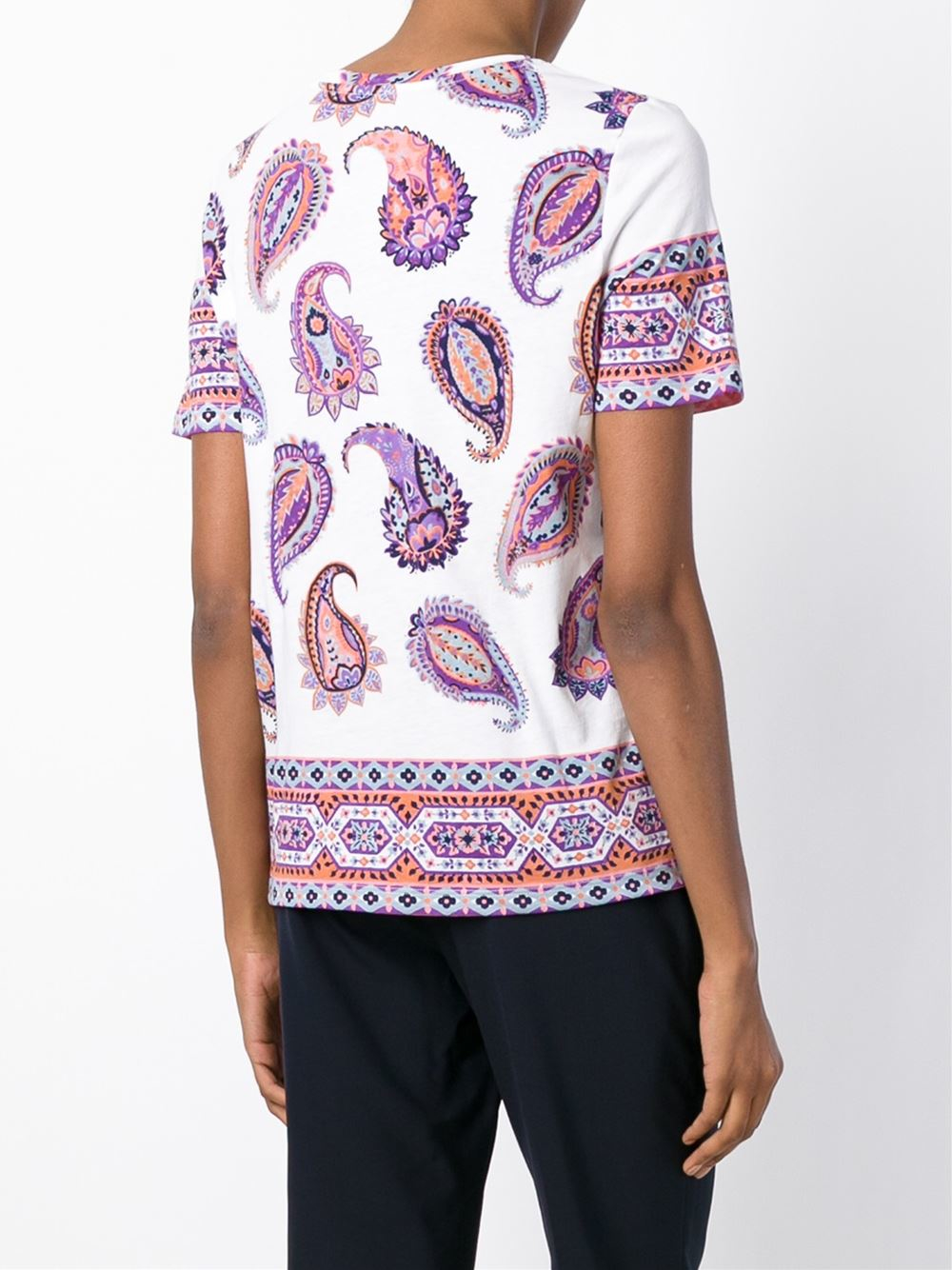 Tory burch printed cotton t shirt in multicolor lyst for Tory burch t shirt