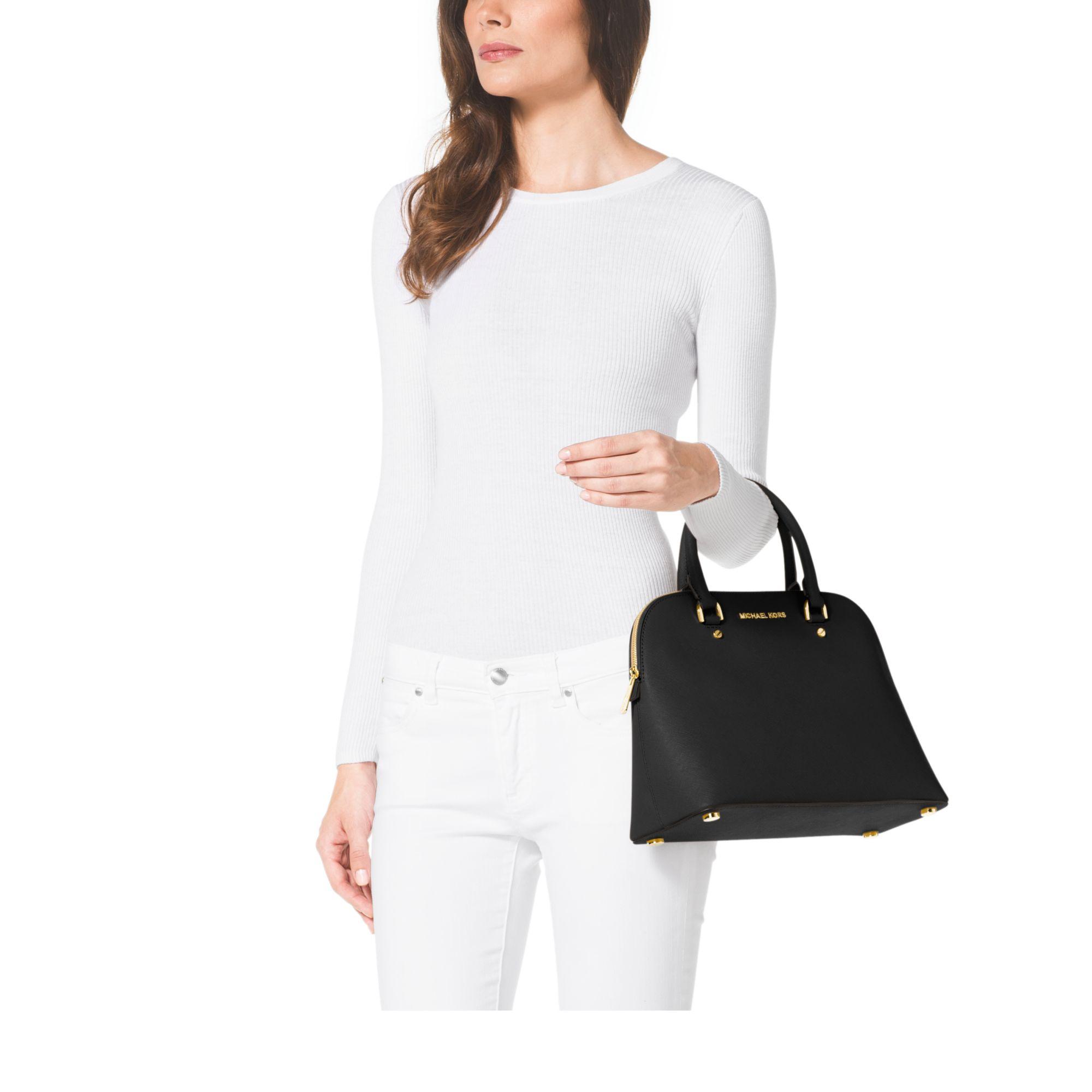 Michael Kors Cindy Laukku : Michael kors cindy large saffiano leather satchel in black