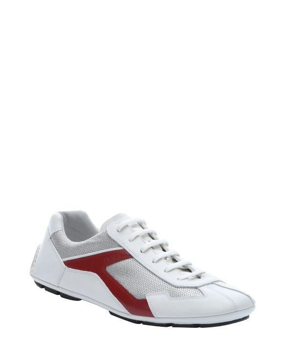 prada pink - Prada Sport White And Red Leather \u0026#39;Monte Carlo\u0026#39; Sneakers in White ...