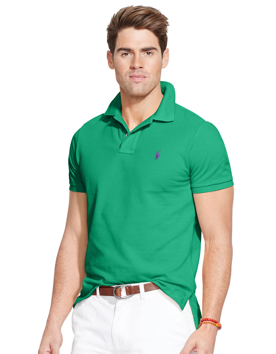 polo ralph lauren classic fit mesh polo shirt in green for. Black Bedroom Furniture Sets. Home Design Ideas