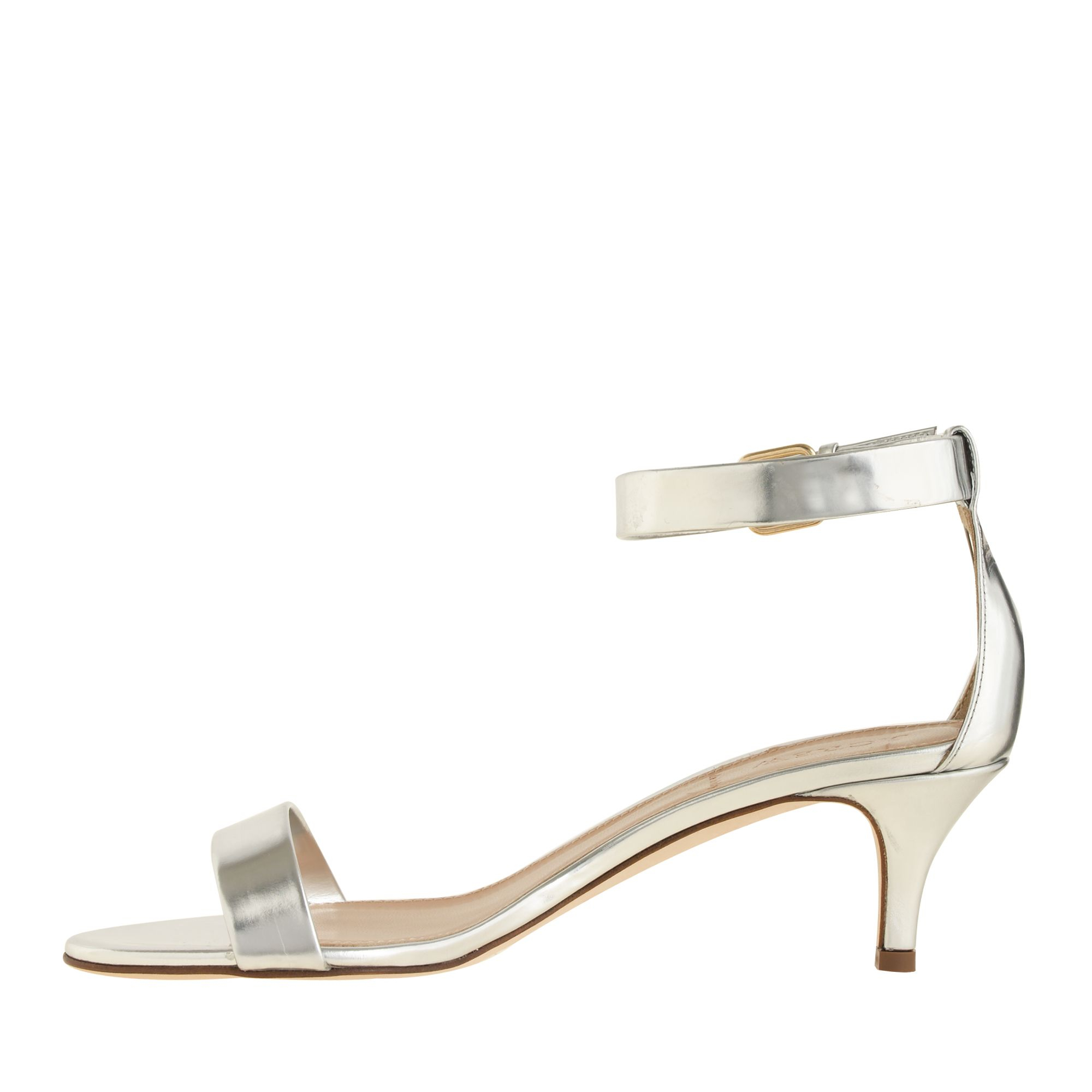 Silver Sandals Kitten Heel - Is Heel