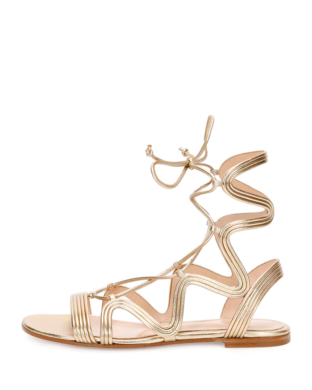 Lyst Gianvito Rossi Metallic Leather Gladiator Sandals