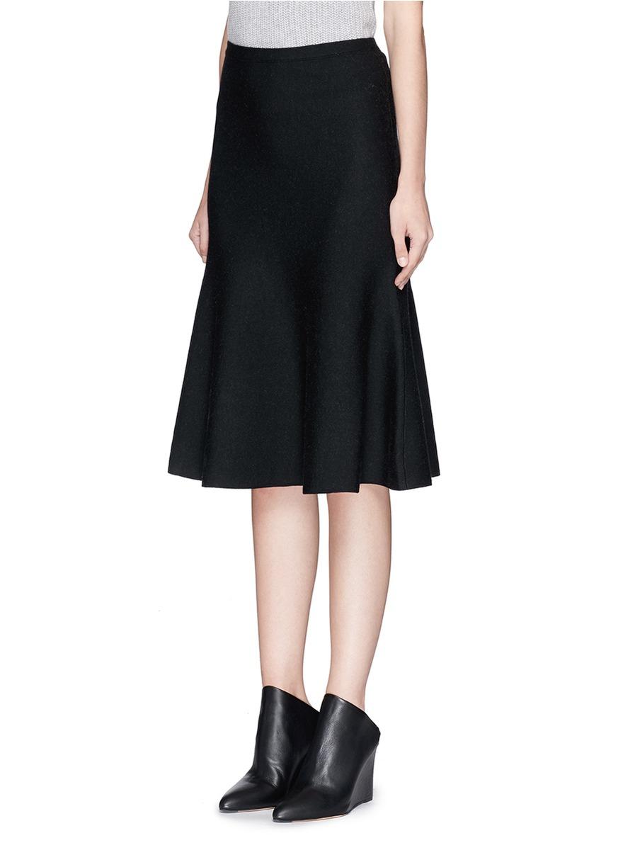 theory marvita b stretch wool blend midi skirt in black