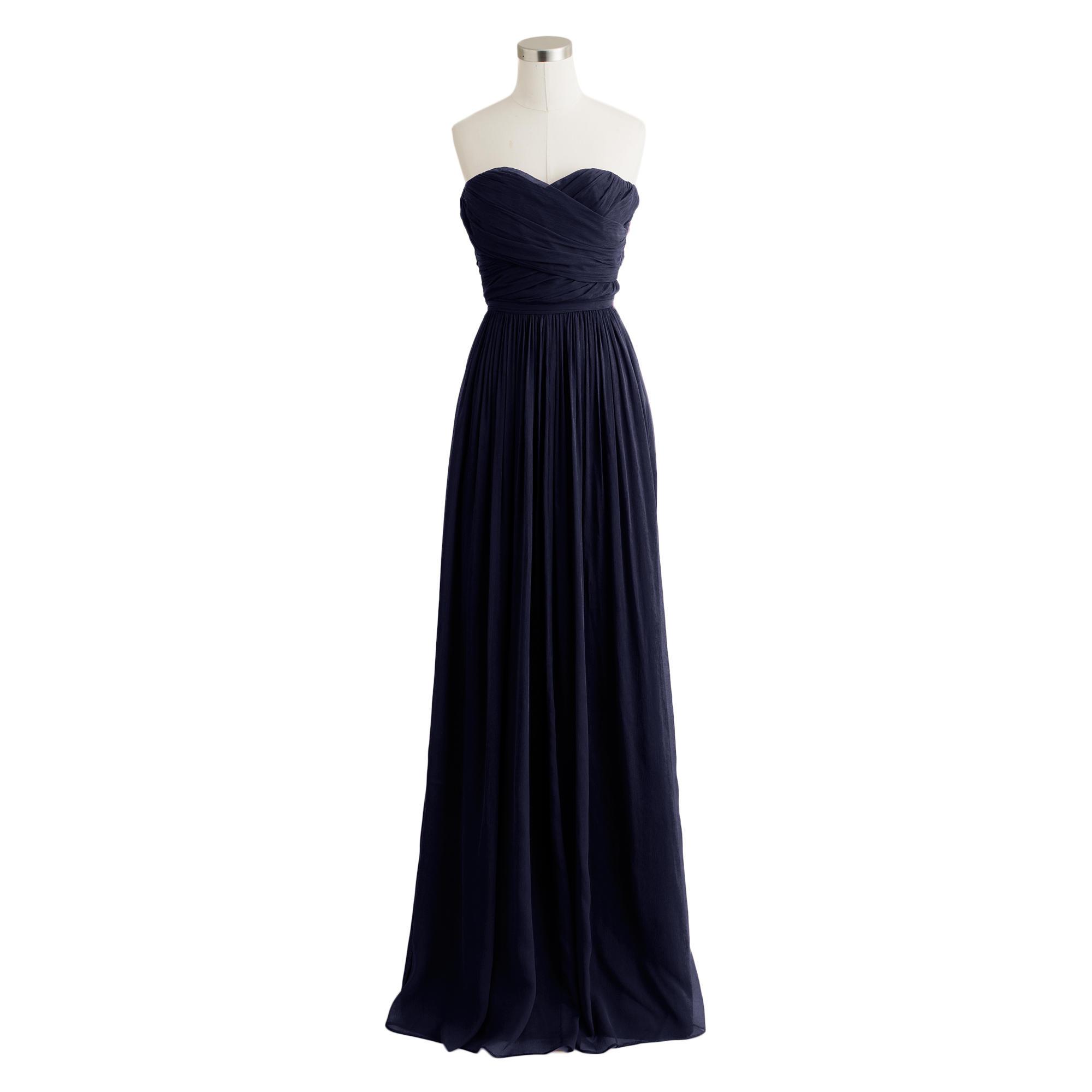 J.crew Arabelle Long Dress In Silk Chiffon in Blue   Lyst
