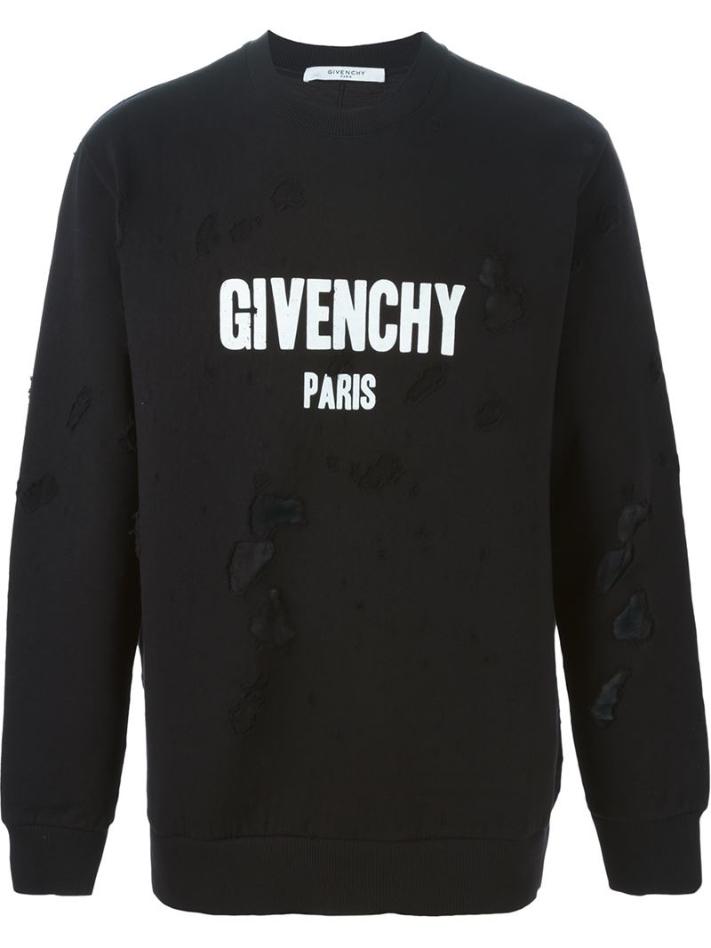 Givenchy Distressed Sweatshirt in Black | Lyst