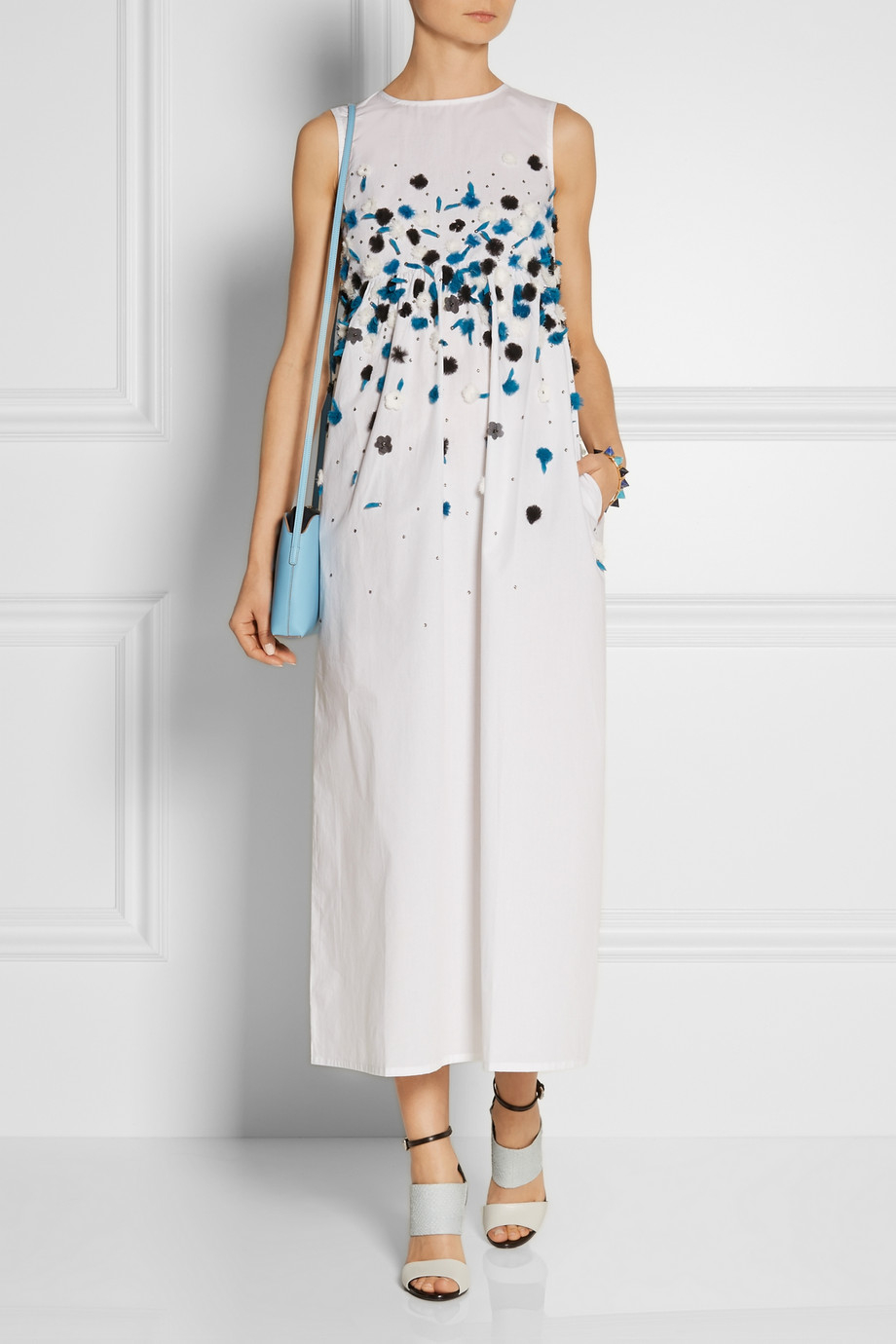 Suno Embellished Cotton Maxi Dress in White | Lyst
