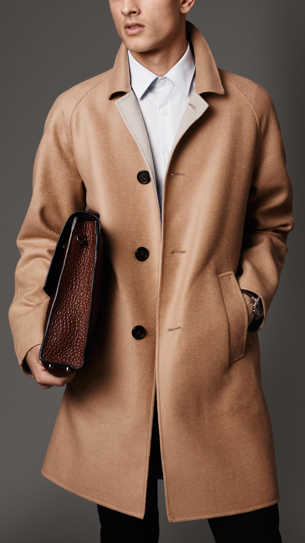 Burberry Double Cashmere Car Coat in Brown for Men   Lyst