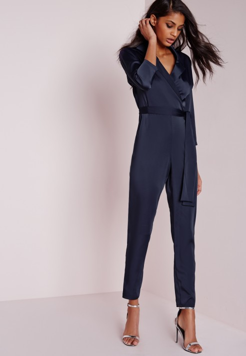 Lyst Missguided Silky Wrap Shirt Jumpsuit Navy In Blue