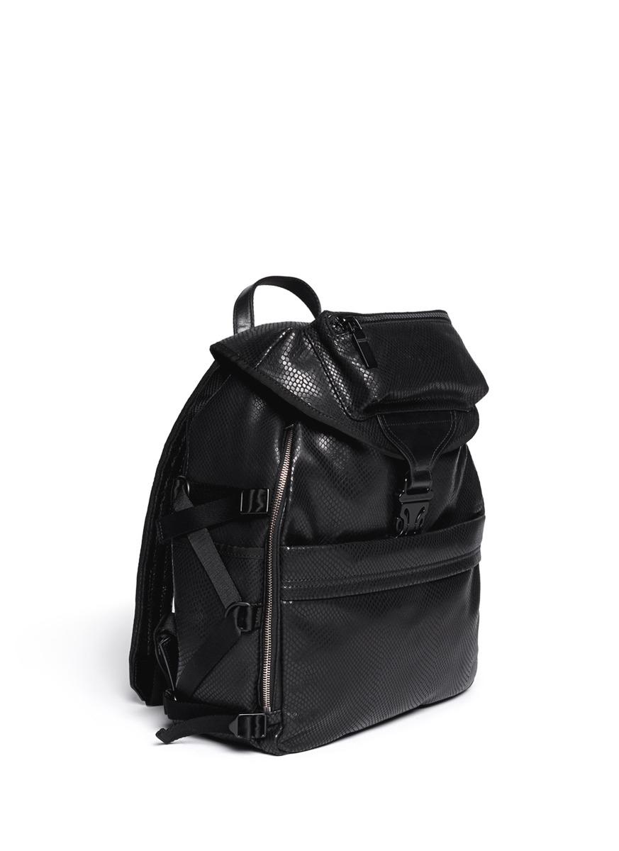 0af4d9f8509 Lyst - Alexander McQueen Snakeskin-effect Leather Backpack in Black ...