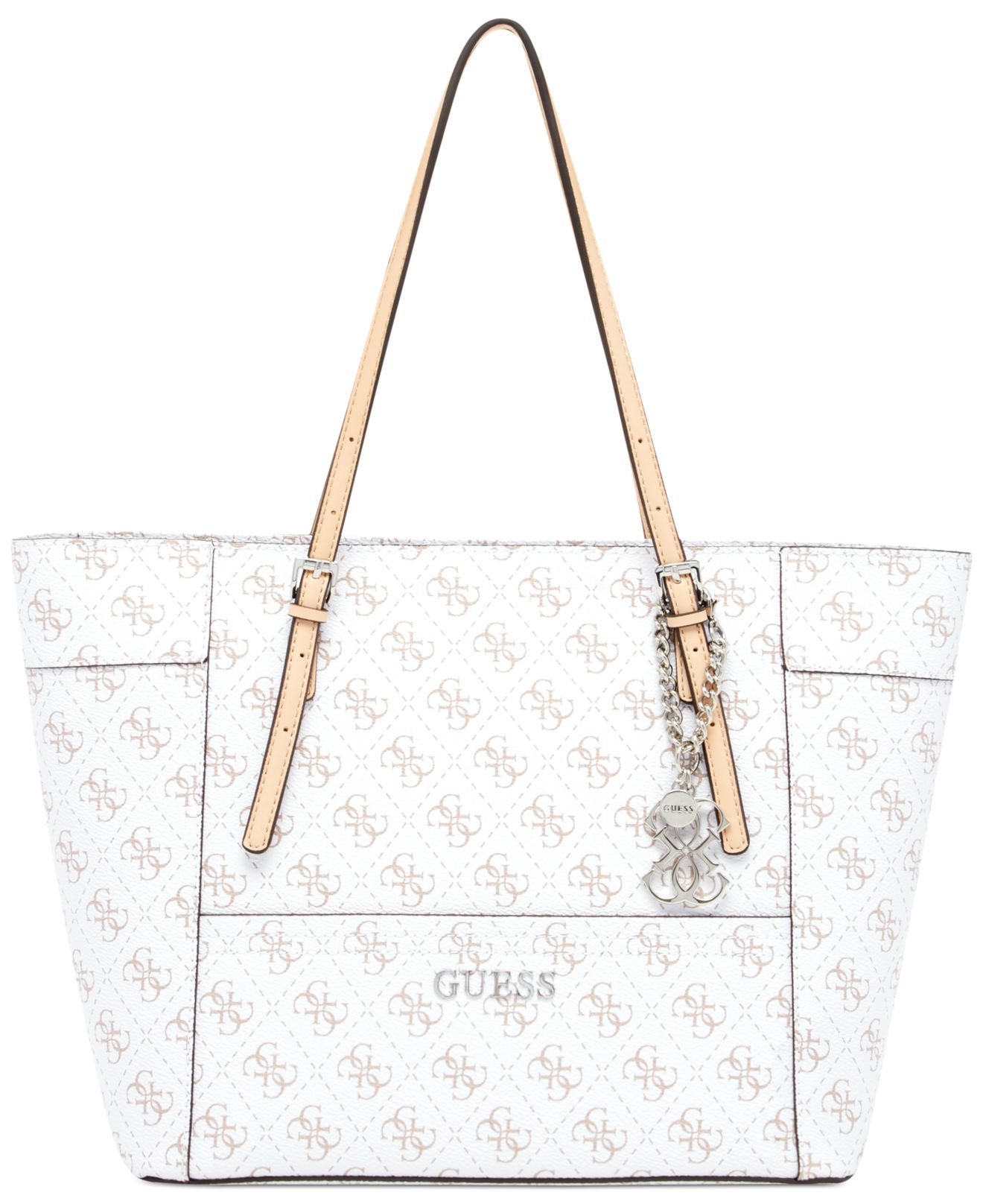 dad521a45ae9 Lyst - Guess Delaney Signature Small Classic Tote in White