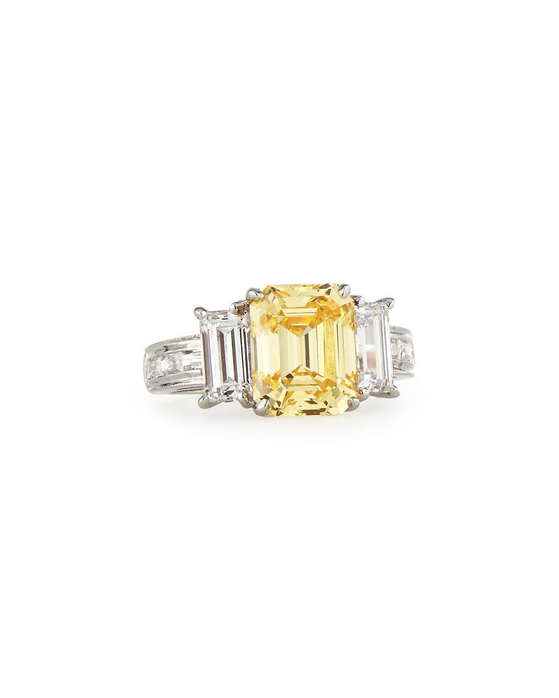 Fantasia Emerald-Cut Canary & Clear Trillion-Cut CZ Crystal Ring WhwMyXU