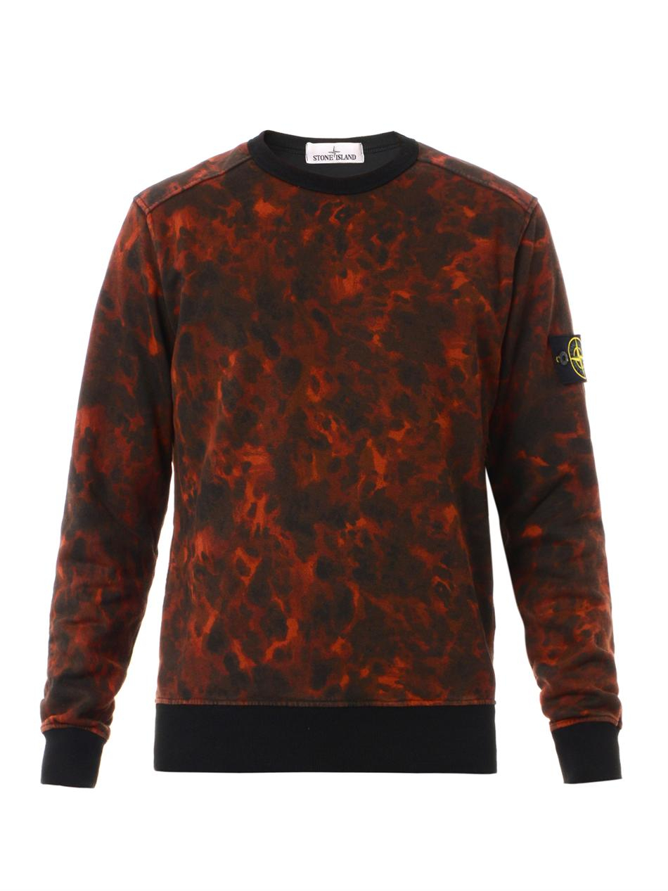 Stone Island Camouflage-print Sweatshirt in Red for Men - Lyst
