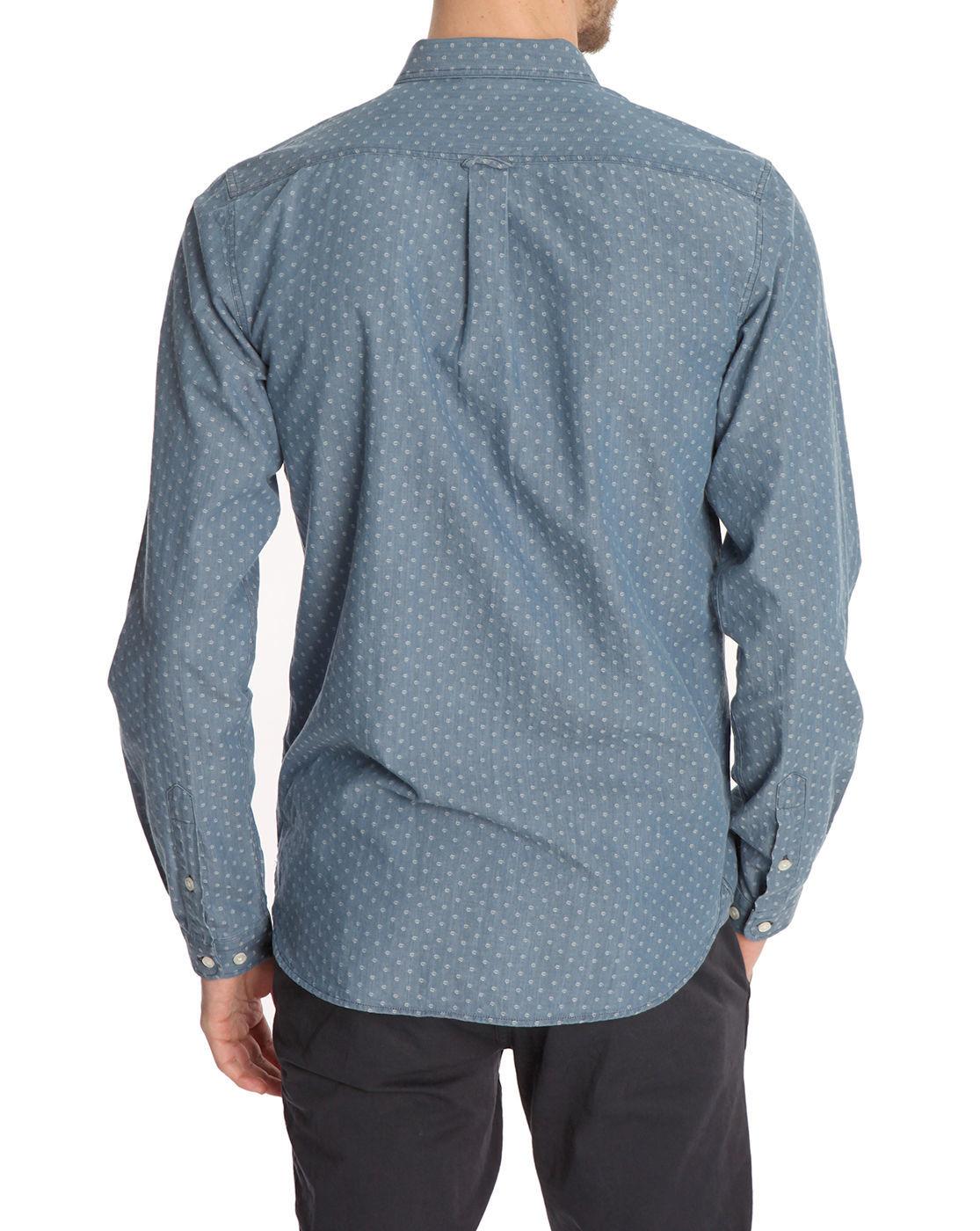 knowledge cotton apparel tweel light print blue shirt in blue for men lyst. Black Bedroom Furniture Sets. Home Design Ideas