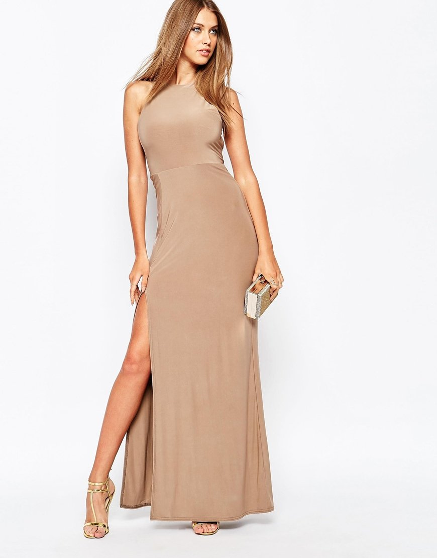 Lyst Missguided Slinky Side Split Maxi Dress In Natural