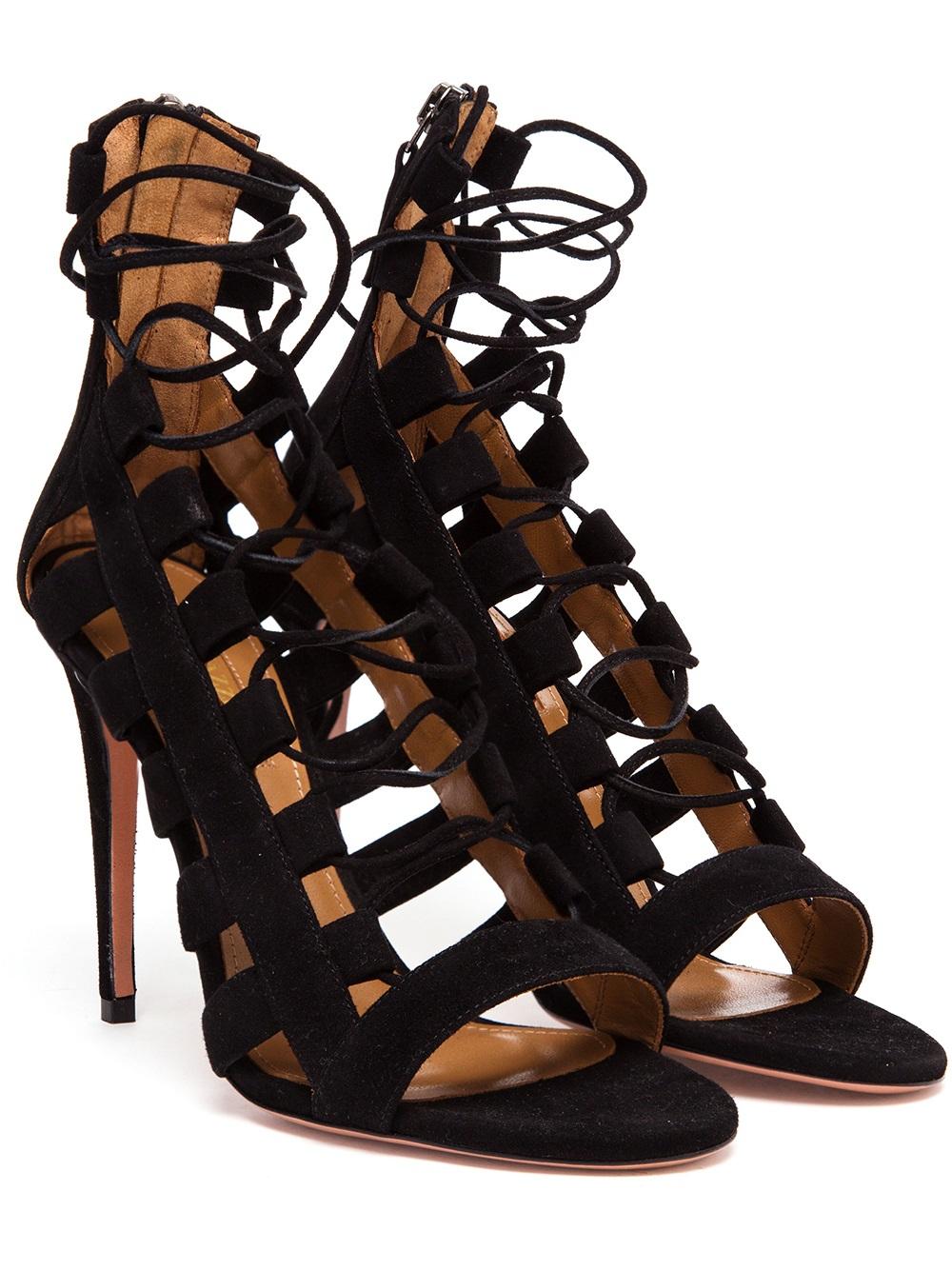 8752480e97ab3 Lyst - Aquazzura Amazon Suede Lace Up Sandal in Black