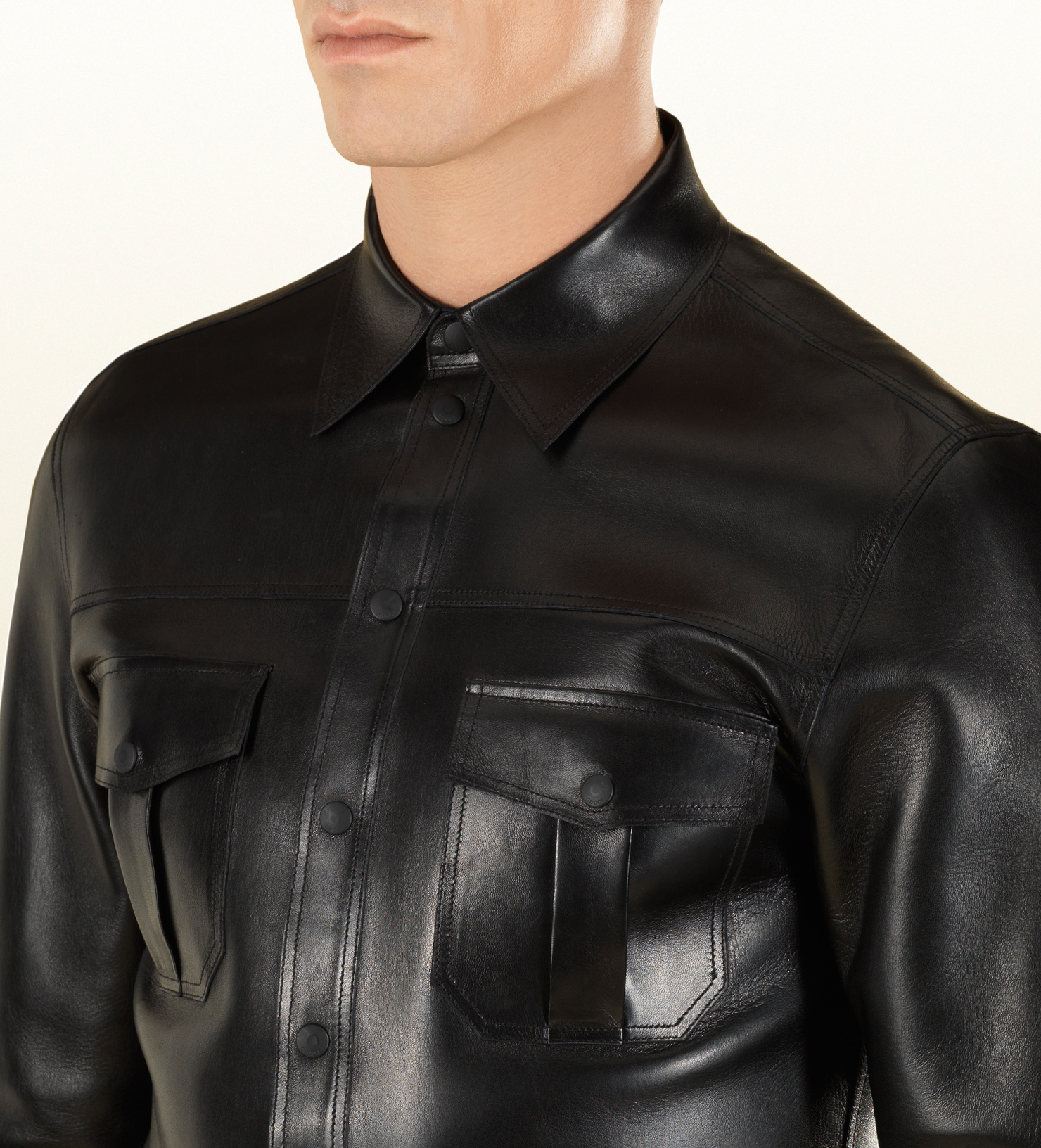 Gucci Leather Buttondown Shirt In Black For Men Lyst