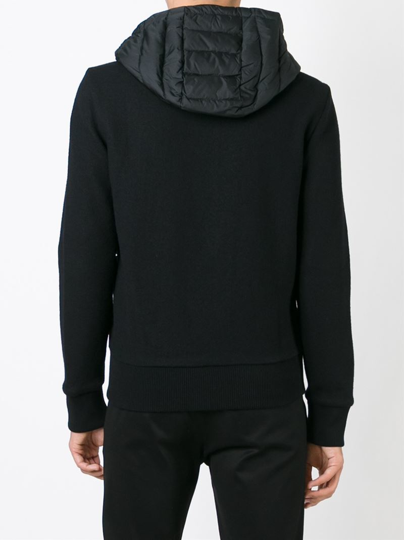 lyst moncler padded panel jacket in black for men rh lyst com