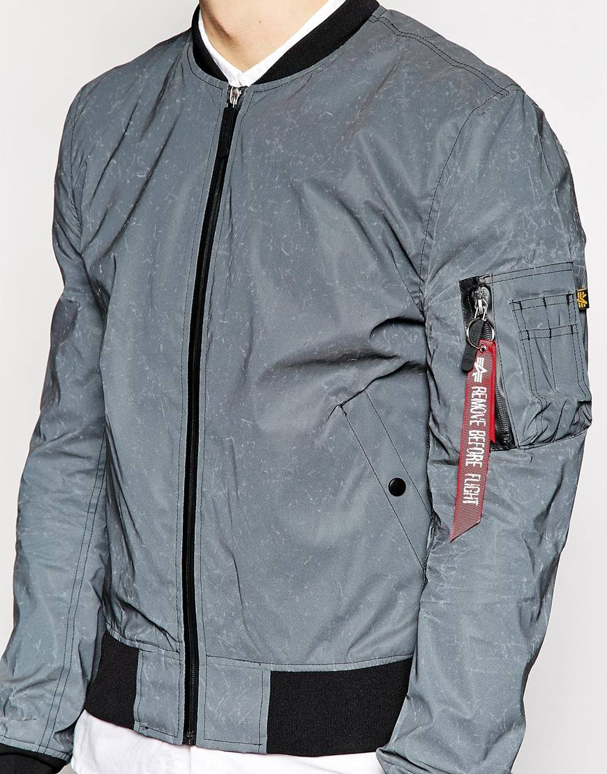 Alpha Industries Ma1 Reflective Bomber Jacket Slim Fit In