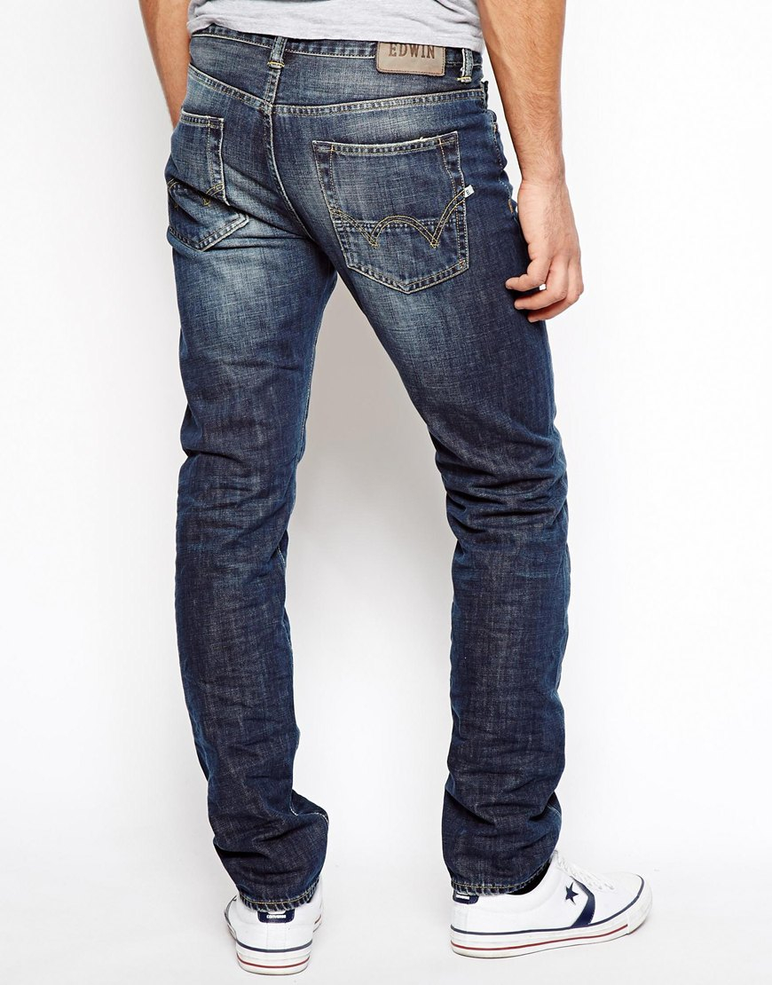 lyst edwin jeans ed80 slim tapered blurred wash in blue