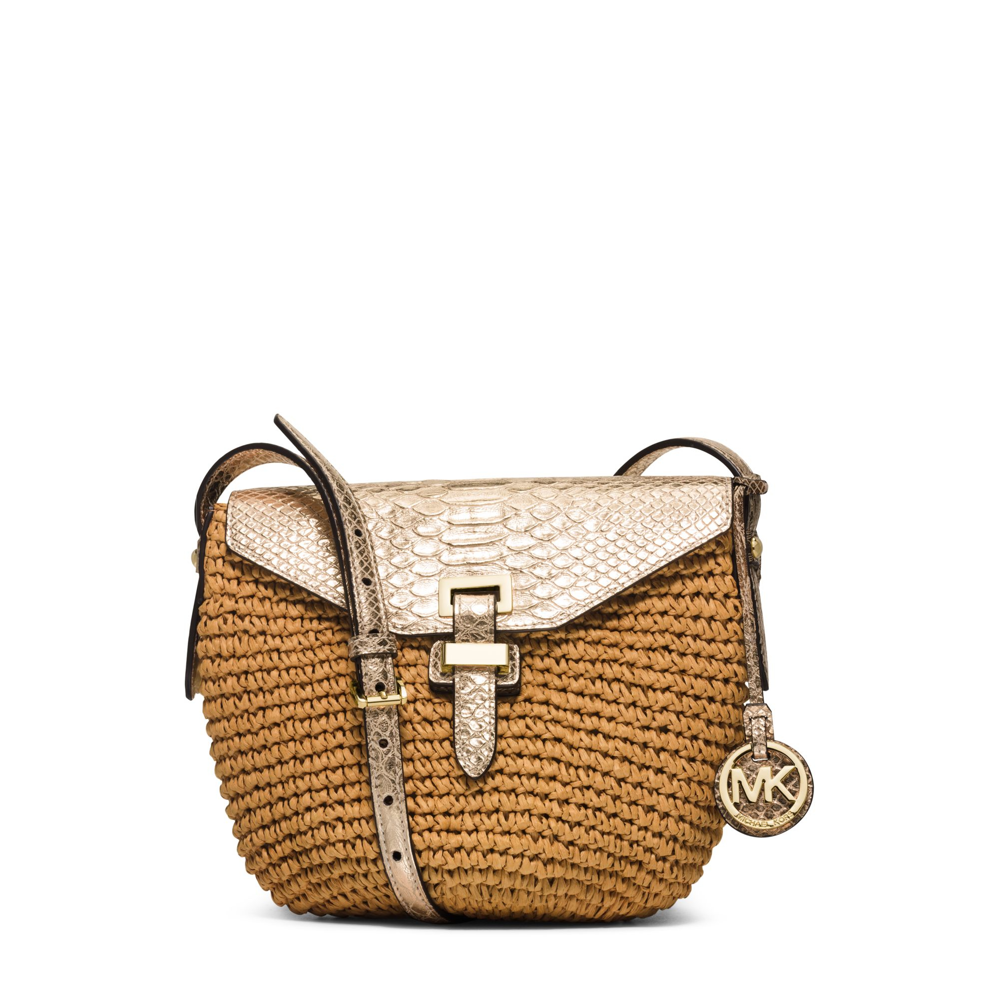 c53ad95feba2d4 uk lyst michael kors naomi medium woven straw crossbody in metallic 0c4f0  dfbbd