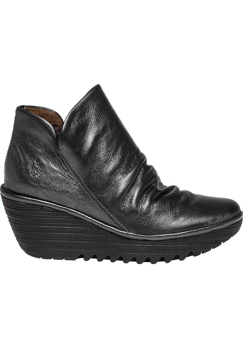 fly london yip leather wedge boots in gray lyst. Black Bedroom Furniture Sets. Home Design Ideas