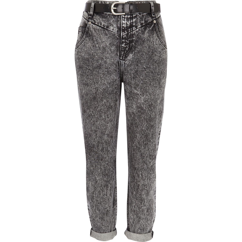 River Island Black Acid Wash Slim Mom Jeans