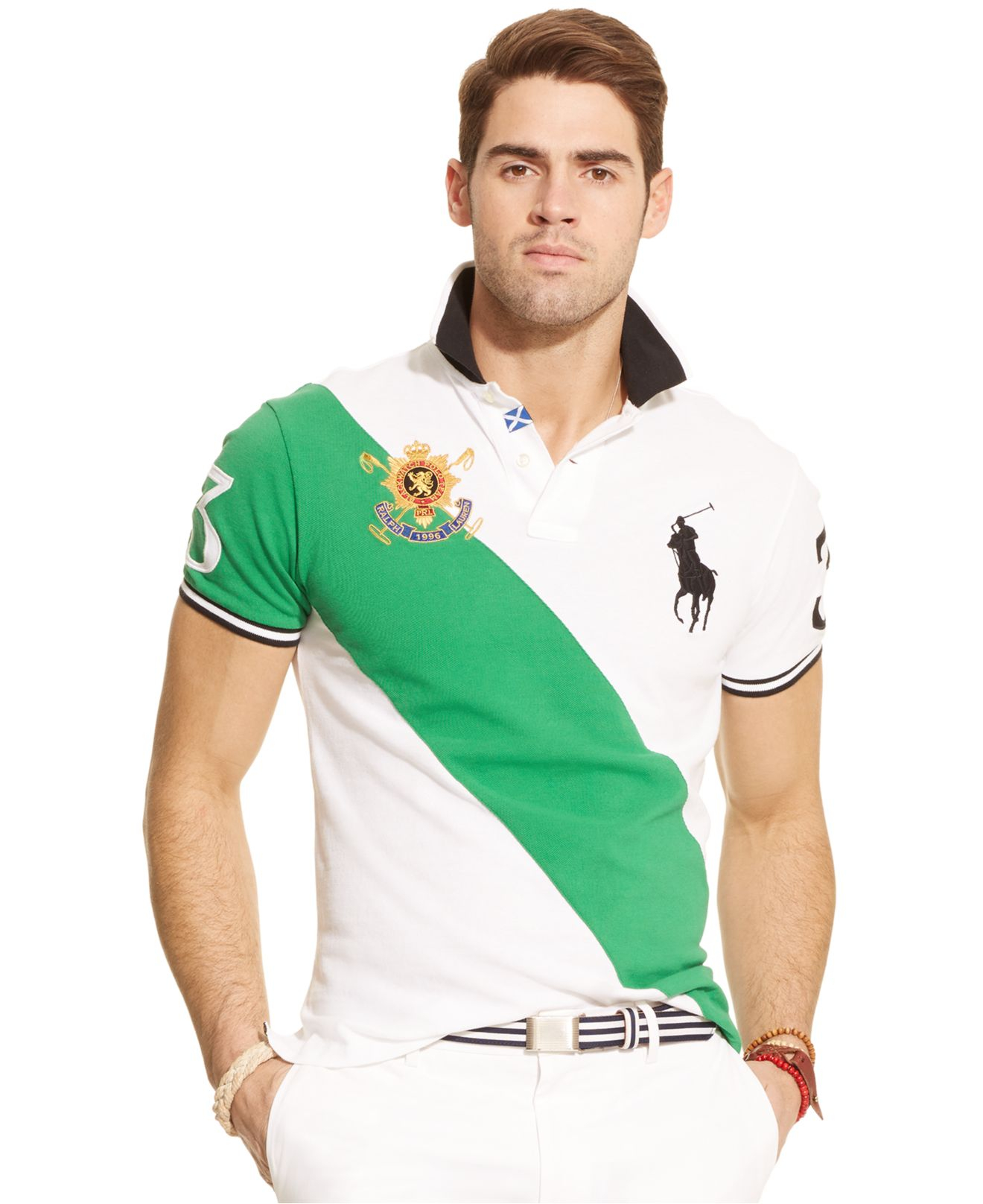 Polo Ralph Lauren | Green Black Watch Custom-Fit Banner-Stripe Polo for Men