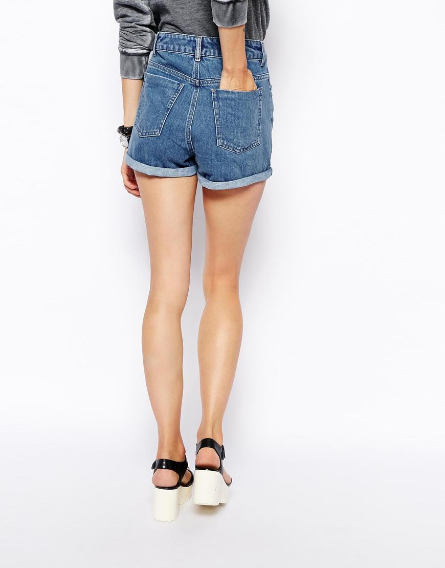 Asos High Waist Denim Mom Shorts In Mid Wash in Blue | Lyst